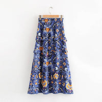 New Design Beatiful Floral Print Ruffles Midi Skirt