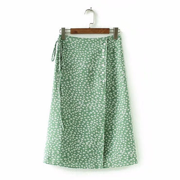 floral print bohemian side split high waist skirt