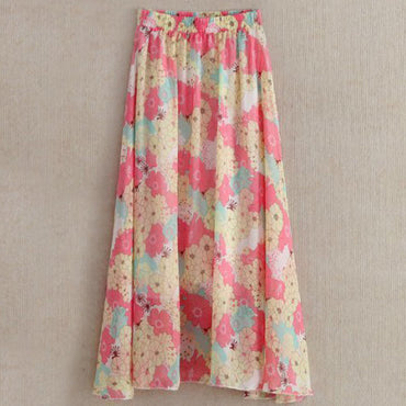 Bohemian Beach Skirt Lady Floral Print Chiffon Long Skirt