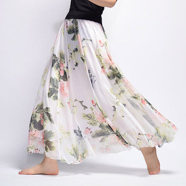 Boho Chiffon Floral Print Maxi Pleated High Waist Beach Long Skirts