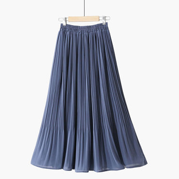 Chiffon Pleated Transparent Maxi Bohemian Skirts