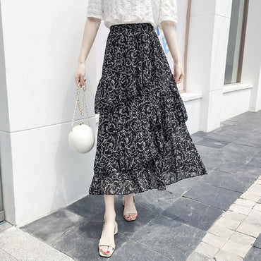 Midi Skirts Boho Bohemian Ruffles Ladies Beach Holiday