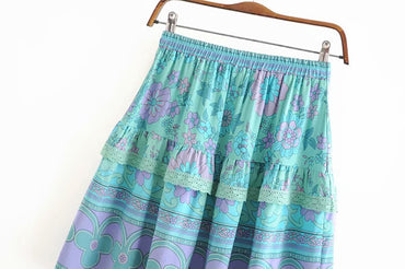 Vintage chic fashion Hippie geen floral printed skirt