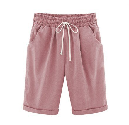 Cotton linen Casual Ladies Drawstring Elastic Loose Short