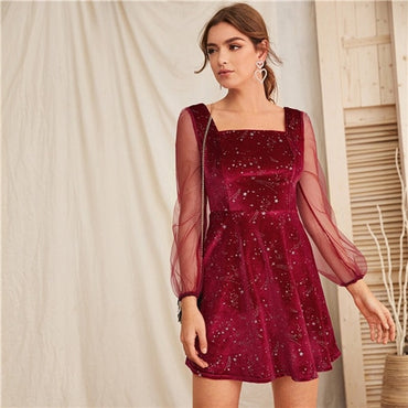 Galaxy Print Contrast Sheer Mesh Sleeve Christmas Velvet Dress