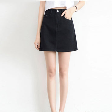 Sexy Denim Mini Fashion High Waist Black Skirt
