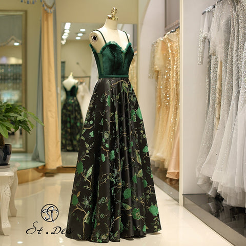 Sleeveless Russian Green Beading Designer Floor Length Evening Dress