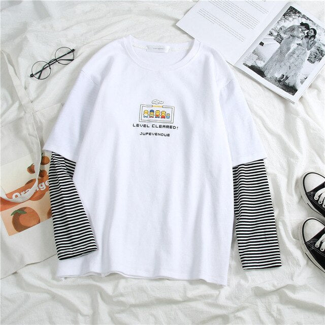 letters stripe tops O-Neck All-match Students t-shirts