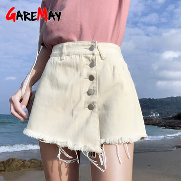 White Vintage Wide Leg High Waist Female Loose Shorts Jeans