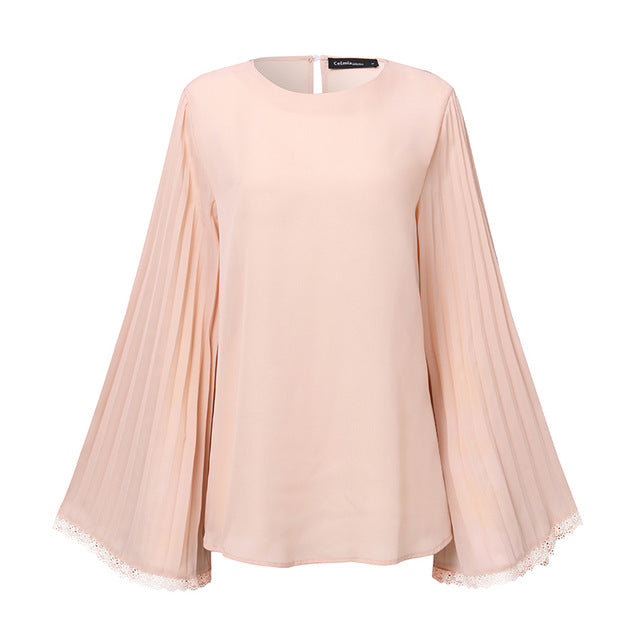 Stylish Tops Long Flare Sleeve Lace Blouse Ladies