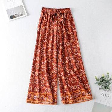 Floral Print Wide Leg Pants Elegant High Waist