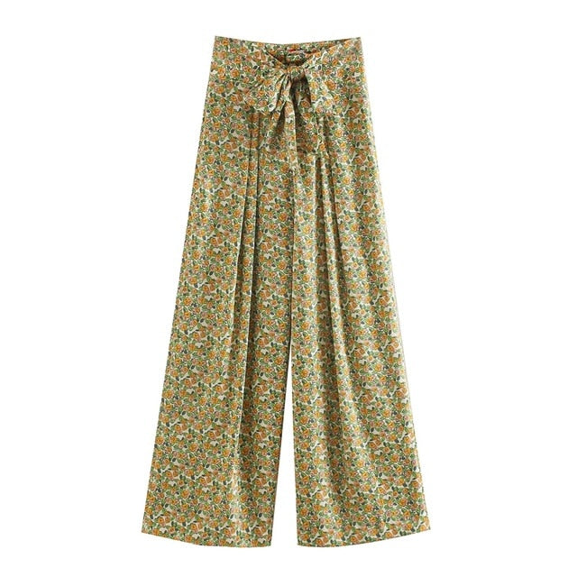 floral print long pants trousers with slash pockets boho style