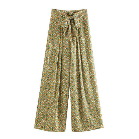 Tangada fashion floral print long pants trousers