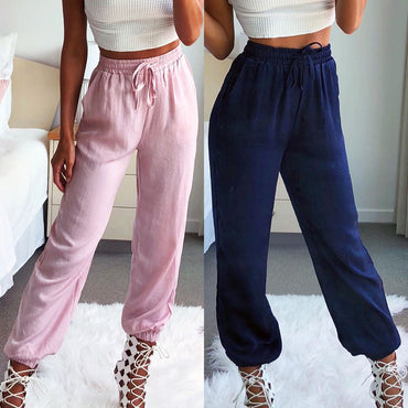 Boho Running Loose Trousers Elastic Smock Waist Casual Pants