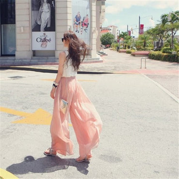 Bohemian Casual Wide Leg Pink Black Baggy Pants