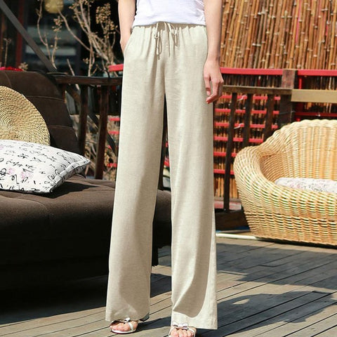 Wide Leg Plus Size Elastic High Waist Boho White Pants