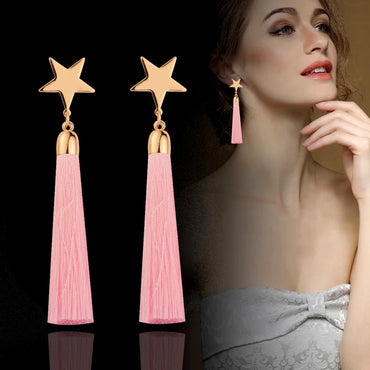 Fashion Star Soft Silk Tassel Long Earrings Bohemian Accessories