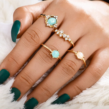 Bohemian Opal Stone Ring Set Crystal Gold Knuckle Rings Jewelry