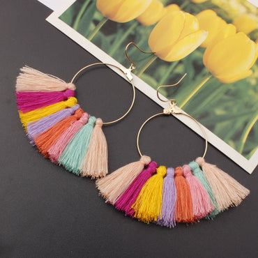 New Bohemian Large Circle Tassel Earrings Ethnic Boho