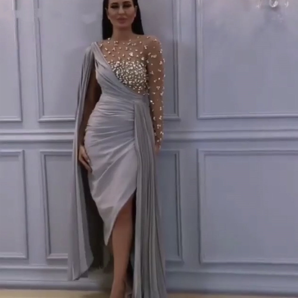 Sexy Split Beading Arabic Formal Prom Party Night Gowns Floor Dress