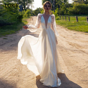 Bridal Gowns Long Sleeve illusion Open Back Bohemian Bride Dress