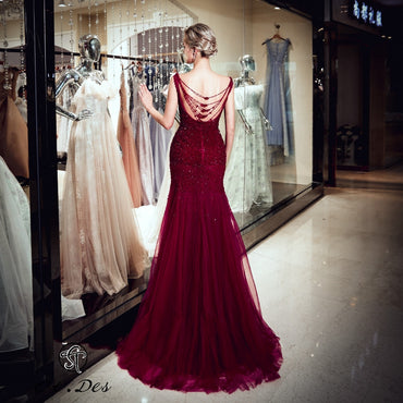 Round Neck Sleeveless Russian Wine Sequins Floor Length Evening Dress