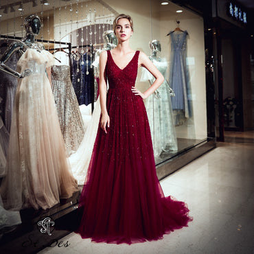 A-line V-Neck Wine Beading Sleeveless Russian Designer Dress