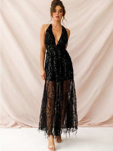 New Long Party Tulle Embroidery Black Cocktail Dresses