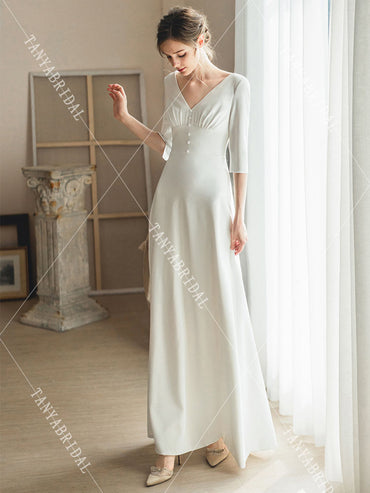 Swing Wedding V back soft satin simple bridal gowns dress
