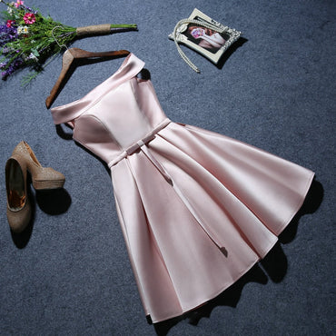 twill satin fabric short prom dress solid color