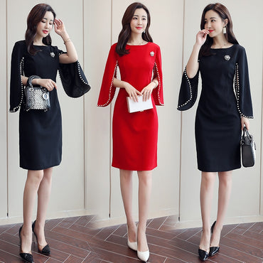 Retro Elegant Half-sleeve Shirt Beads Slimming Skirt Large Size Dress
