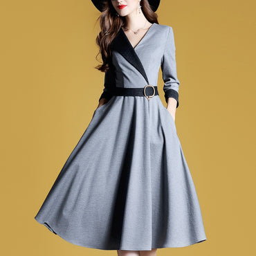 Fashion V-neck Full Body Dress Three-quarter-length Sleeve