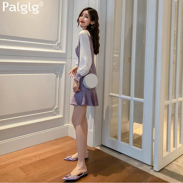 Elegant Waist Hugging Slimming Joint Long Sleeve Skirt Chil Dress