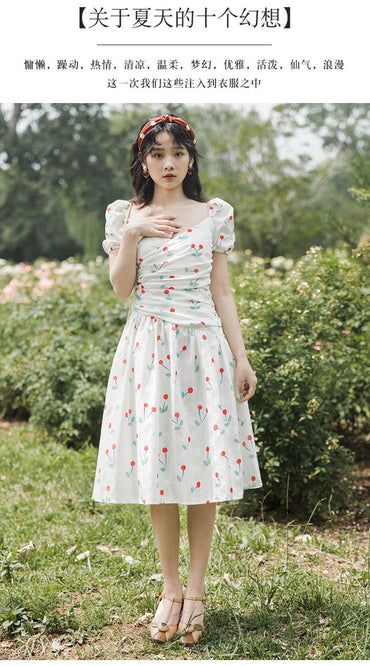 Literature And Art Vintage Cherry Floral Printed Dress