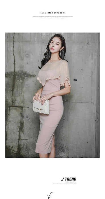 Lace And Yarn Crew Neck Flounced Slim Fit Sheath Formal Dress