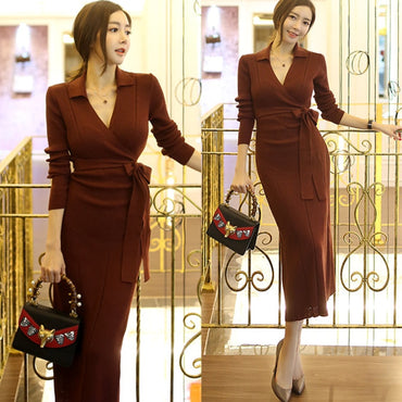 Elegant Slim Fit Long Sweater Skirt V-neck Wrap Dress