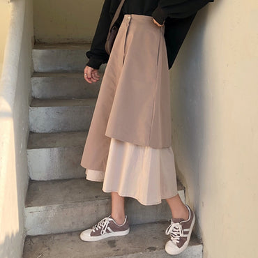 Vintage Pleated Long Elastic Waist Boho Beige Maxi Skirts