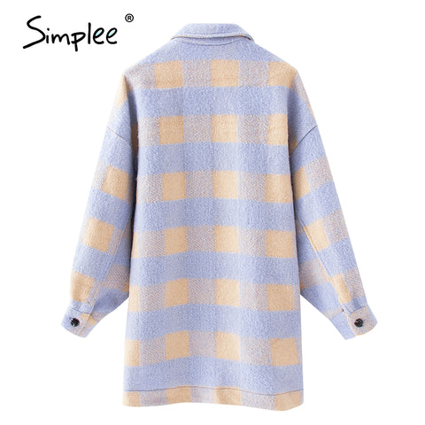 Casual plaid jacket coat Puff sleeve button pockets outwear