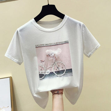 Tops White Pink Short Sleeve Female Tshirts