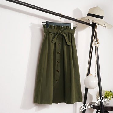 Midi Knee Length Elegant Button High Waist Skirt