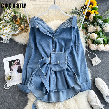 Vintage Sashes Slim Waist Jeans Denim Jacket