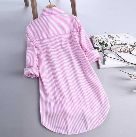 Long Sleeve Turn-down Collar Pink Button Blouse Shirts