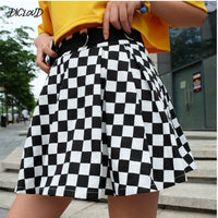 Pleated Checkerboard Harajuku High Waisted Skirt