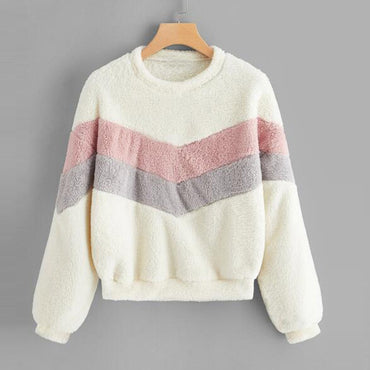 Sweatshirt pullovers warm Patchwork Sports Outwear