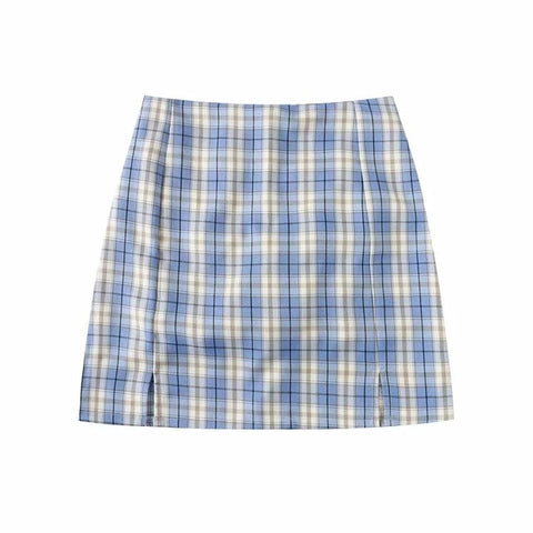 Split Details Plaid Mini Skirt with Under Shorts