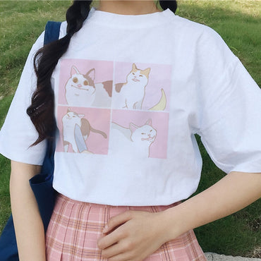 female cartoon cat tops tees short sleeve casual T-shirt