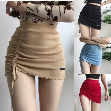 Irregular high waist elastic short skirt