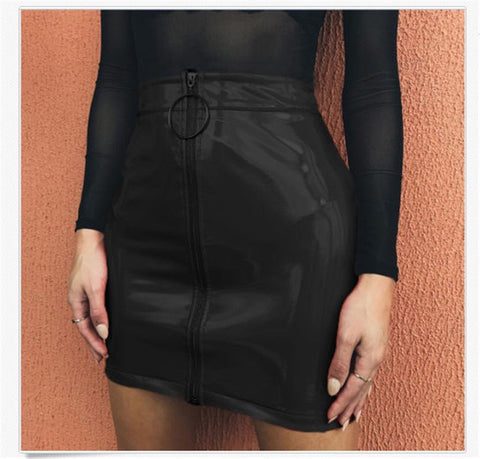 Sexy Zip Faux Leather Short Pencil Bodycon Mini Skirt