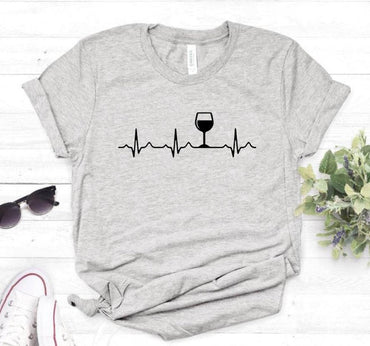 Wine Heartbeat Cotton Casual Funny t shirt