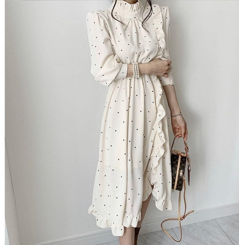 Elegant O-neck ruffle split Printed Dress